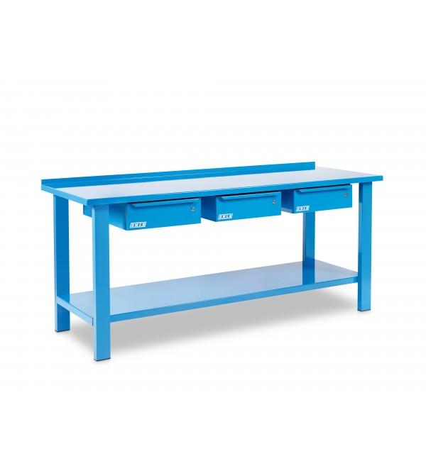 Banco da lavoro 2 metri 3 cassetti Blu Omcn 1004