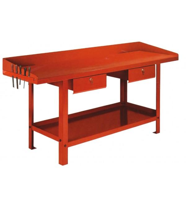 Banco da lavoro 1,5 metri 2 cassetti Rosso Derby G...